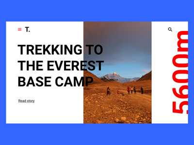 Trekking Blog | Travel helvetica neue layout modern story travel blog everest trekking uiux minimal design web design minimal ui ux ui