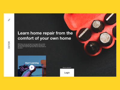 OKTOR | Online Home Repair Academy Landing Page 💻 video yellow figma start up startups startup academy online landingpage landing design uiux minimal web design minimal ui ux ui