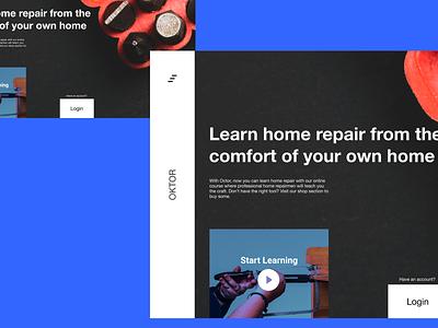 OKTOR | Online Home Repair Academy Landing Page 💻 landing design startups repair startup academy online modern landing typography branding uiux minimal web design design minimal ui ux ui