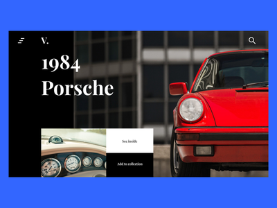 V. | Vintage Car Collection Website 🚗 playfair display clean design red layout clean ui clean car typography uiux minimal web design design minimal ui ux ui