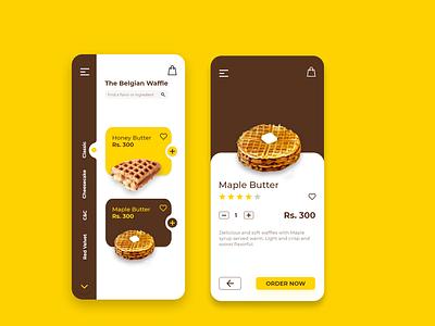 The Belgian Waffles App Concept adobe xd adobexd sidebar menu waffles waffle food and drink ecommerce food app mobile app mobile ui app foodapp