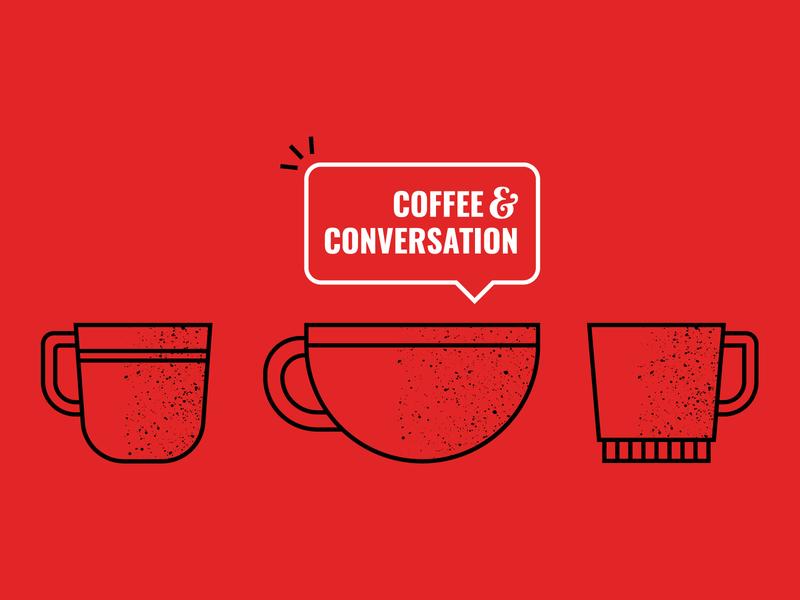 Coffee & Conversation vector illustration cup coffee