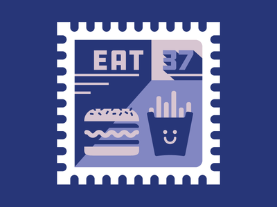 EAT burger food eat stamp