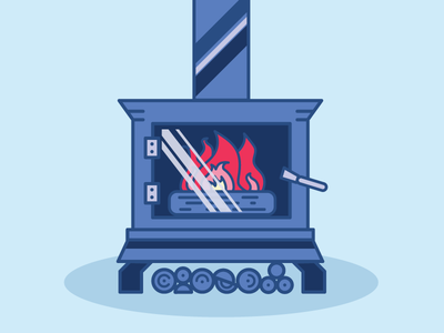 Stay warm blue fire wood stove