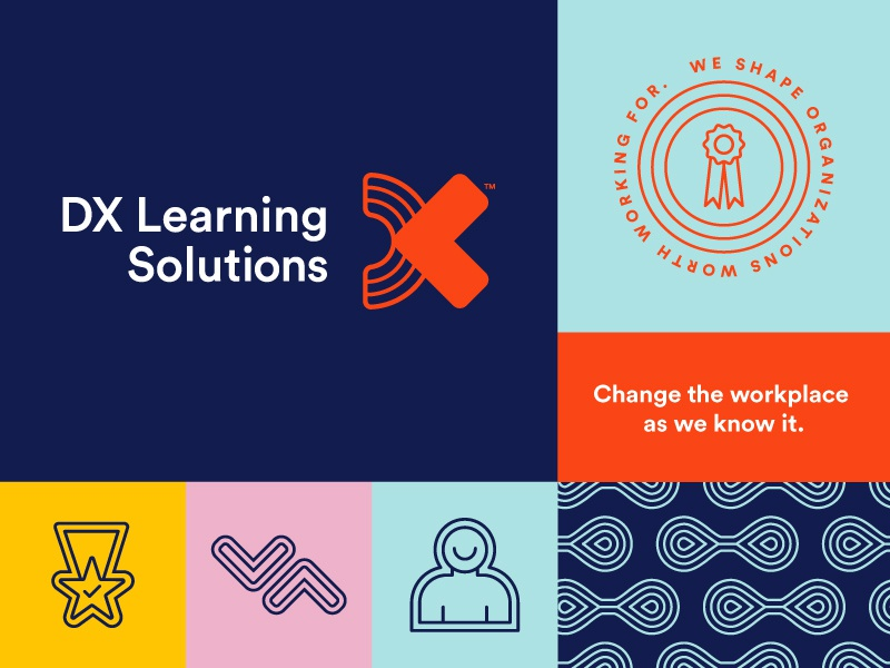DX Learning Solutions moodboard badge pattern icon logo identity branding