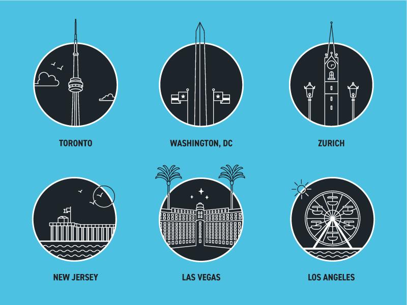 Locations washington dc zurich new jersey las vegas los angeles toronto vector illustration icon set icons