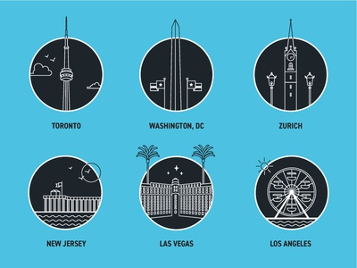 Locations washington dc zurich new jersey las vegas los angeles toronto vector illustration icon set icons