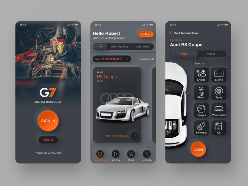 G7 - App for Mechanics dark theme product design ux ui mechanics handbook design automotive app