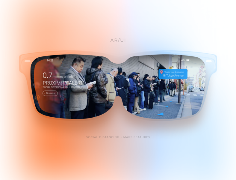 AR Glasses Concept - Social distancing alert alert social distancing glasses concept ui user interface augmented reality