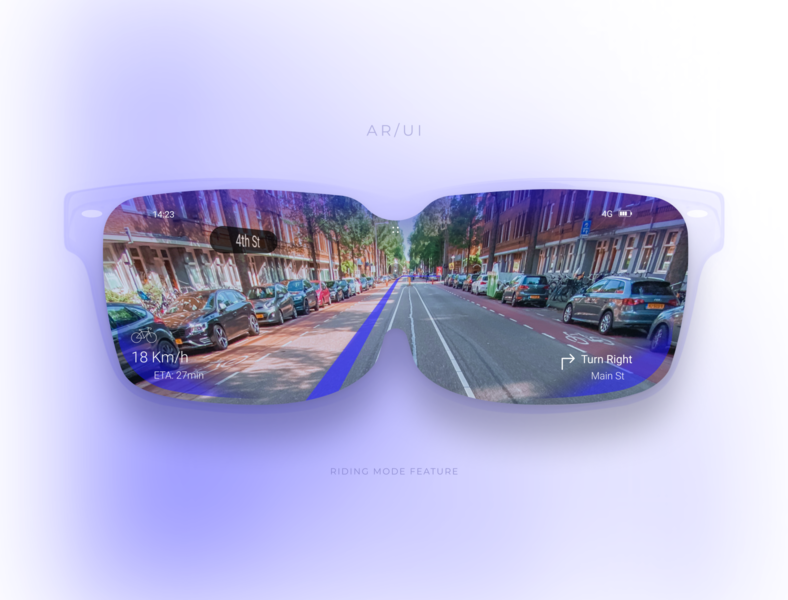 AR Glasses Concept - Riding a bike street view bike riding ar glasses augmented reality ux design ui