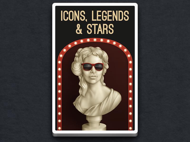 Icons, Legends & Stars illustration card game bust ivory wayfarers sunglasses statue