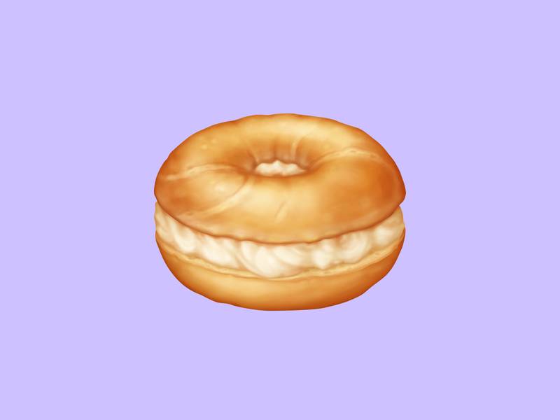 🥯 Bagel – U+1F96F breakfast cream cheese bagel snack food emoji emoji food icon food illustration icon