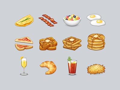 Brunch Emoji drinks brunch emoji eggs toast pancakes mimosa icon food croissant breakfast bacon
