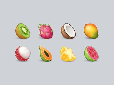 Tropical Fruit Emoji icon food emoji fruit kiwi dragon fruit coconut mango lychee papaya starfruit guava