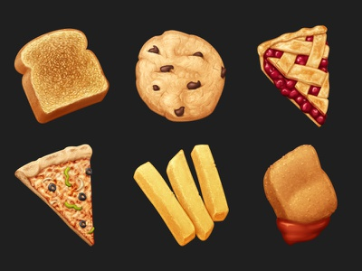 June Snacks dessert snacks french fries toast pizza pie cookie food cooking icon oven june