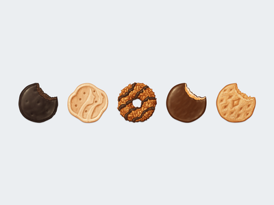 Girl Scout Cookies Emoji cookie thin mints trefoils samoas tagalongs do-si-dos girl scout cookies icon food dessert emoji