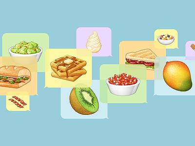 Snacks for iMessage messages app pico de gallo kiwi waffles dole whip snacks food stickers emoji