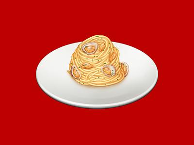 Spaghetti alle Vongole clams spaghetti pasta food barilla illustration icon