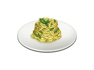 Linguine al Pesto basil pesto linguine pasta food barilla illustration icon