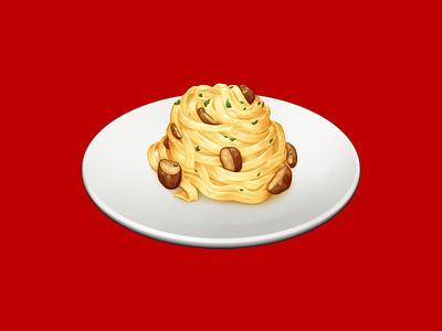 Tagliatelle ai Funghi mushrooms tagliatelle pasta food barilla illustration icon