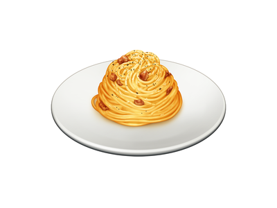 Spaghetti alla Carbonara egg cheese pork carbonara spaghetti pasta food barilla illustration icon