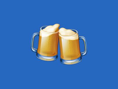 🍻 Clinking Beer Mugs – U+1F37B cheers translucent mug beer beverage drink food facebook emoji icon