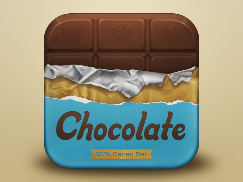 Chocolate Icon chocolate icon ios iphone icon foil metal silver gold food candy packaging ios icon iphone