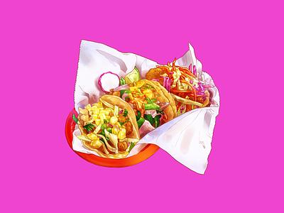 Three Tacos (Camarones, Veggie, Pescado #1) paper fish vegetables shrimp tortilla tacos por qué no food illustration