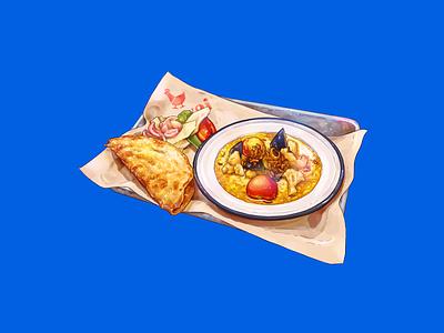 Vegan Curry & Roti Set pickles paper metal hat yai bread roti curry food illustration