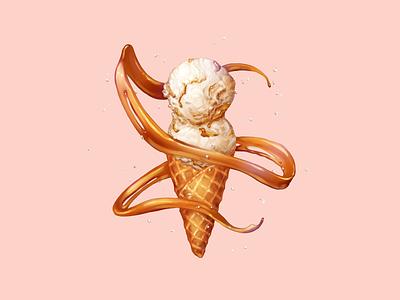 Sea Salt with Caramel Ribbons salt  straw sea salt caramel dessert waffle cone ice cream food illustration