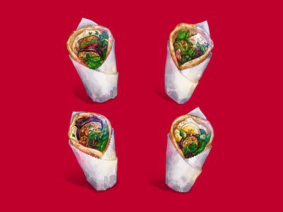 Pita Wrap × 4 paper wrap sabich falafel pita vegetarian wolf and bears food illustration food illustration