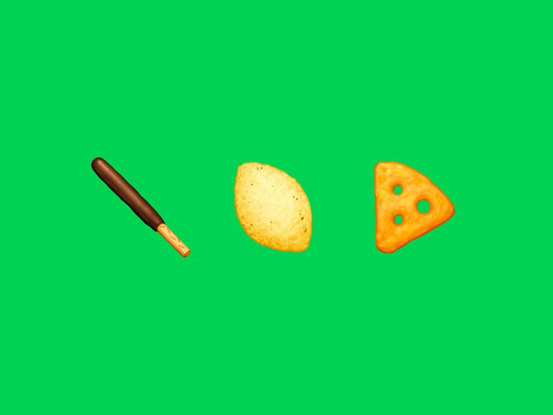 Japanese Snacks – Crunchy / カリカリ chocolate pocky cracker cheeza corn potage pocky snack sticker food emoji emoji food icon food illustration icon