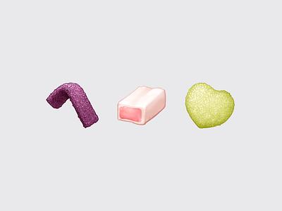 Japanese Snacks – Gummi / グミ sugar candy gummy puré hi-chew fettuccine snack sticker food emoji emoji food icon food illustration icon