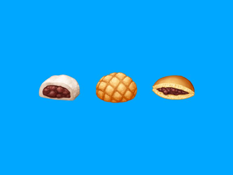 Japanese Snacks – Sweet / 甘い azuki red bean melon pan melon bread bread pancake sandwich dorayaki daifuku mochi snack sticker food emoji emoji food icon food illustration icon