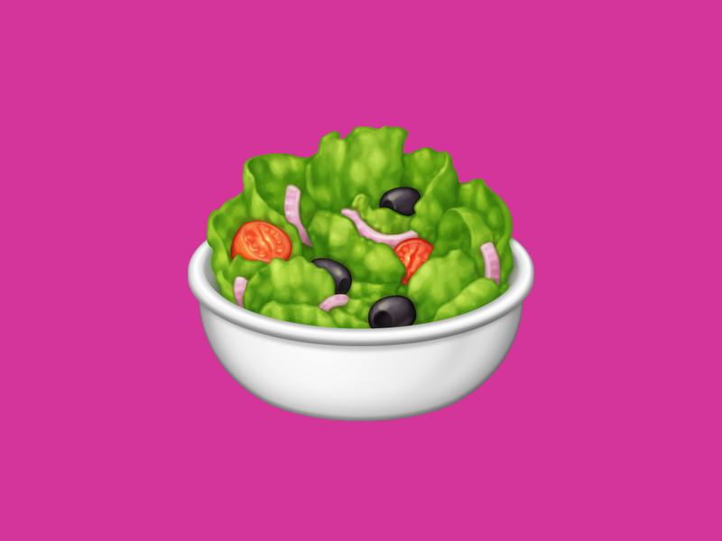 🥗 Green Salad – U+1F957 olive black olive onion tomato salad lettuce food facebook food emoji emoji food icon food illustration icon