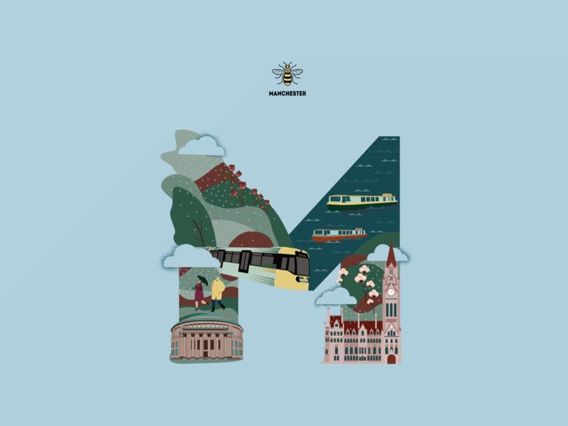Manchester's Gems vector art vector illustration poster manchester adobe illustration graphic design adobe illustrator vector design