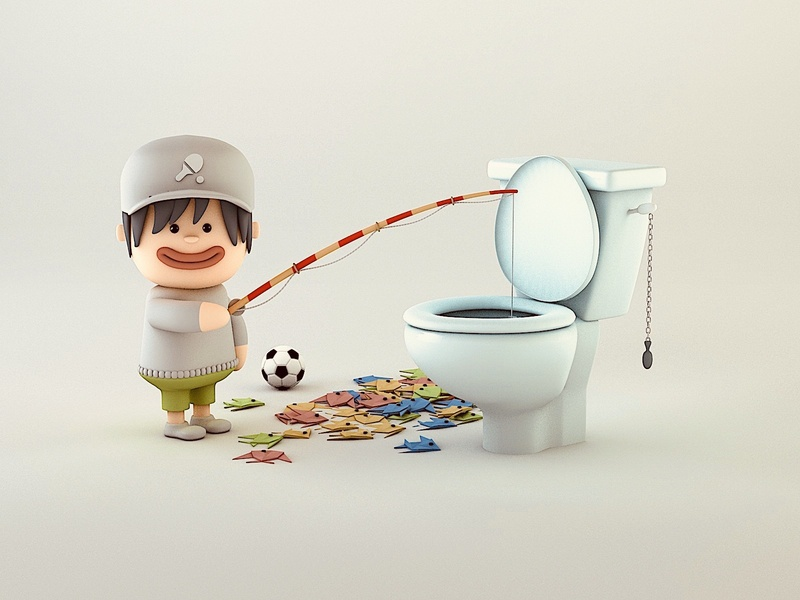 Toilet Humour humour fishing toilet cartoon c4d illustration 3d