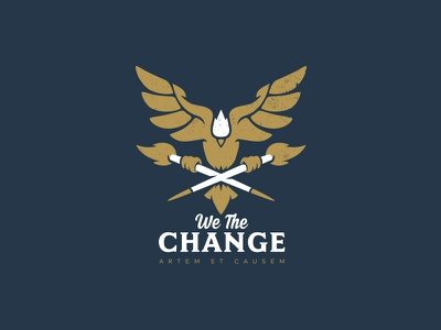 We the Change studio brand design illustration fire wings gold type change bird logo icon