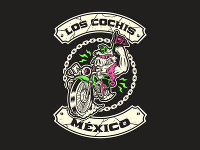 Los Cochis Mx wheels chain lowbrow freak cartoon black badge strong weirdo motorcycle speed illustration