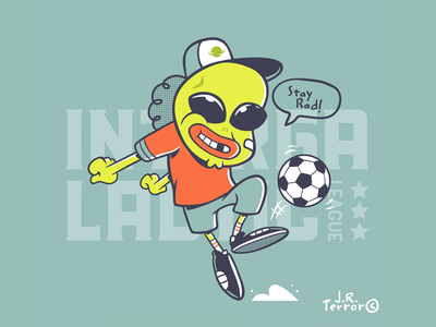 Stay Rad! cool active player stars intergalactic space sports alien character cartoon illustration soccer