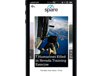 Spare Content Selector ios7 mobile cards articles time