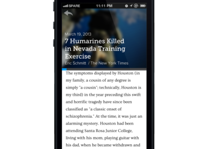Spare App Article Reader ios7 mobile reading articles time