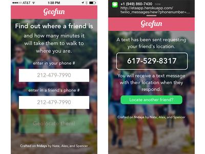 geofunapp.com User 1 flow web app web location gps tracking