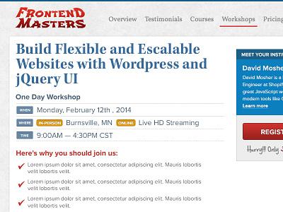 FrontEnd Masters Workshop workshop layout