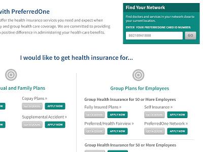 PreferredOne Homepage layout health
