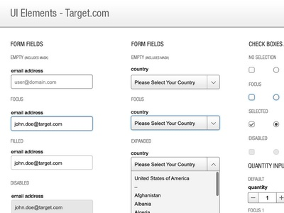 Target.com Style Guide styleguide ui