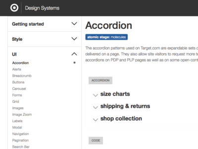 Design Systems accordion section target ui design systems styleguide patternlibrary accordion