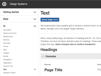Design Systems - Text Page target patternlibrary pattern styleguide ui designsystems
