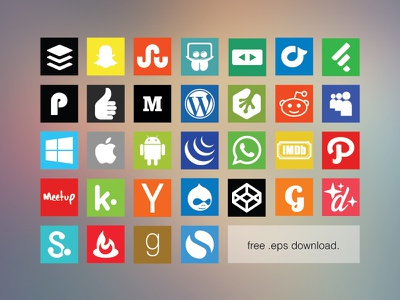 Free Flat Social Media Icon Set 2 freebie eps flat icons vector social