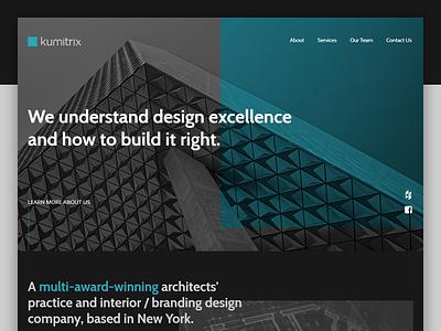 Kumitrix - Landing Page modern responsive design responsive website web design one page site landing page design case study branding architecture